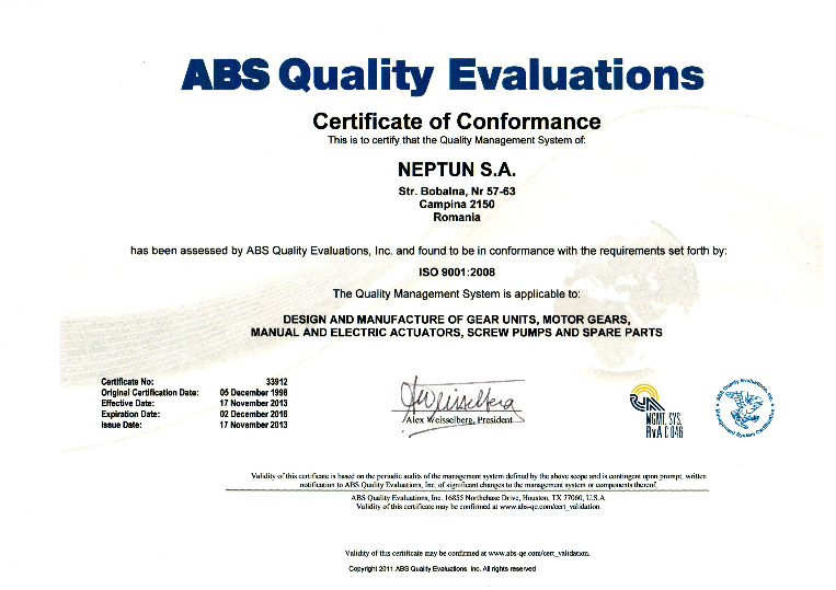ISO 9001:2000, ABS QUALITY EVALUATIONS, material certificate SR EN ...